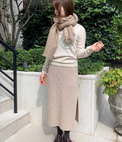 EAST BY EASTWEST KNIT SKIRT×CASHMERE STOLE